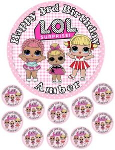 """LOL Dolls 6.5"""" round  and 10 Smaller 1.5""""   Edible Icing Cake Topper"""