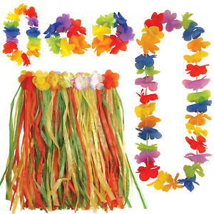 CHILDREN GIRLS 40CM HAWAIIAN MULTI HULA SKIRT LEI FLOWER SET FANCY DRESS COSTUME