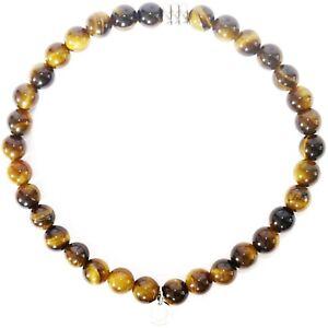 TATEOSSIAN Men's Tiger Eye Beaded Bracelet £125 RRP Brown Round Beads NEW IN BOX
