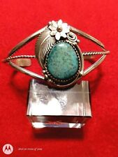 Timothy Lee sterling silver Turquoise Navajo CUFF BRACELET