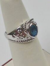 .95CT Natural Blue Topaz Cluster Ring 925 Sterling Silver