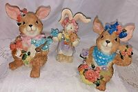 3 Ceramic Spring/Easter Bunny Rabbit Figurines- Spring/Easter-Flowers Butterfly