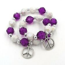 """Matching little girl and doll bracelets 18"""" doll jewelry accessory peace sign"""