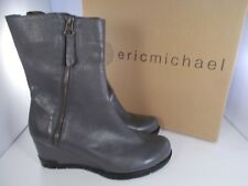 Eric Michael Delta Grey Leather Boots 1035 Women's Size 5.5 US/37 EU New In Box