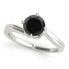 2.00 Carat Black Diamond Solitaire Engagement Bridal Ring 14k WG ASAAR DEAL