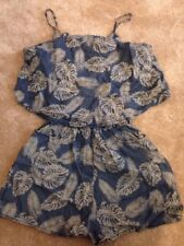 Primark Denim Flower/ Feather/ Leaf Jumpsuit Size 8