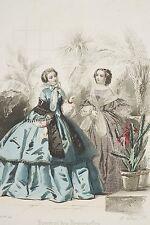 Gravure de mode ancienne 1858 Deux femmes dans un jardin d'hiver Napoléon III