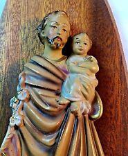 Italy Saint Joseph with Child Statue Shrine Wood Wall Plaque Religious Vtg