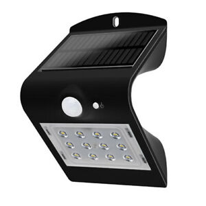 Luceco LED Solar Panel Sensor Outdoor Wall Mounted Black Security Light
