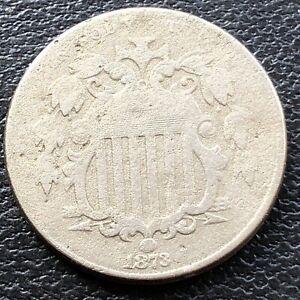 1873 Shield Nickel 5c Higher Grade VF #28844