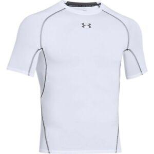 Under Armour Men's HeatGear Armour Short Sleeve Compression WHITE   GRAPHITE LG