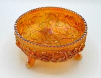 Vintage Imperial Marigold Carnival Glass 3 Footed Bowl/Fernery - Lustre Rose