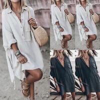 ❤️Women Long Sleeve Cotton Linen Baggy Button Long Tops Casual Loose Shirt Dress
