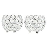 2x Crystal Bling Candle Holder for Wedding Dining Table Decor 10cm_Silver