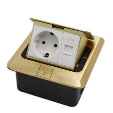 EU Standard Home Use Pop Up Floor Socket + Phone Copper Electrical Outlet 2 Way