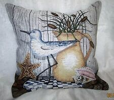 Nautical Theme - Sand Piper Seashell Empty Tapestry Fabric Pillow Shell- NEW