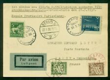 Sweden 1930 First Night Flight Stockholm-Paris mixed franking w/French Due stmps
