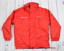 Mens Vintage TOYOTA COROLLA Winter Mechanic Jacket Warm Embroidered Red Size S M