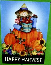 Happy Harvest Scarecrow with Pumpkins and Apples  Garden Flag