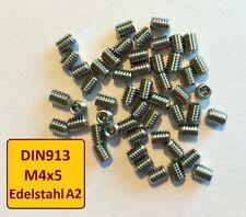 DIN913 M4x5 A2 Edelstahl Stiftschraube Madenschraube Verschlussstopfen  25 Stück