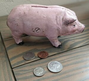 Vintage Miniature Collectable Cast Iron Standing Pig Piggy Bank Pink