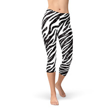 03754eab382a46 Zebra Capri Leggings For Women - Black White Yoga Capri Pants - Non See  Through
