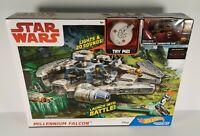 Star Wars Millennium Falcon Hot Wheels Track Playset Character Cars Damaged Box