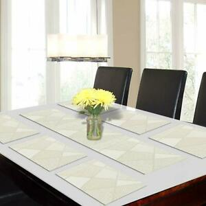 6 Placemats(30 x 45 cm) +1 Runner(30 x 135 cm)For Table Made Of PVC-Cream Color