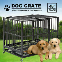 """48"""" Black Dog Crate Large Heavy Duty Kennel Cage Portable Playpen w/ Wheels&Tray"""