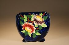 Maling China Art Deco Hand Painted round Cobalt Floral Vase, England c. 1929
