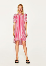 STRIPED SHIRT DRESS DETAILS  US XL COLOR:  Red /White NEW  COTTON BLEND