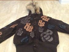 Women's brown Rocawear hooded down bomber jacket size L