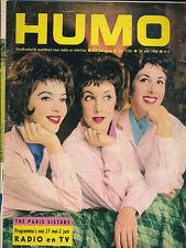 HUMO 1133 (24/5/62) THE PARIS SISTERS BREL LIZ TAYLOR FREDDY MANSFIELD LESTER