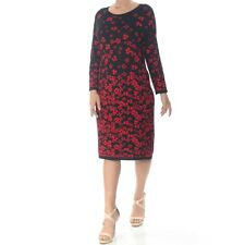 Tommy Hilfiger Women's Floral Black Red Sweater Dress Size M