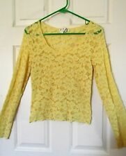 MK Solo Pretty Short Lace Top SzL Yellow Longslv scoopneck form-fitting Special!