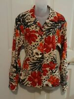 Alfred Dunner Sz 12 Women's Floral Print Button Jacket Top Pockets Red/Beige