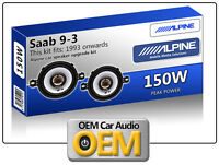 "Saab 9.3 Front Dash speakers Alpine 3.5"" 87cm car speaker kit 150W Max Power"