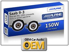 "Saab 9.3 Front Dash speakers Alpine 3.5"" 87cm car speaker kit 150W Max Power"