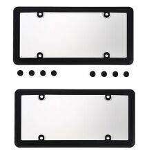 2 Clear License Plate Shield Covers + 2 Black Frames for Vehicles