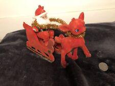 Vintage Retro Christmas Decoration Ornament - Santa Father Christmas Sleigh Deer