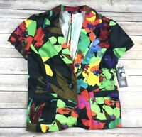 New Toni Morgan Womens Sz Small Floral Print One Button Short Sleeve Blazer $54