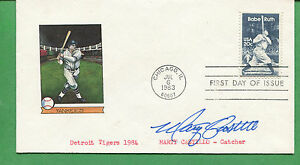 Autografato Primo Giorno Cover Marty Castillo 1984 Detroit Tigers Catcher -