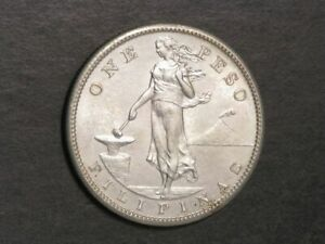 PHILIPPINES 1908S 1 Peso Silver Crown Choice AU-UNC