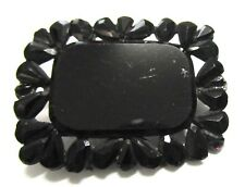 Beautiful Victorian Mourning Pin Brooch Faceted Jet Antique Estate
