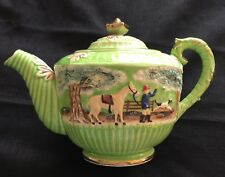 Vintage RARE Hunting Scene Horses/Dogs Tea Pot Lime Green Gold-Made in Japan