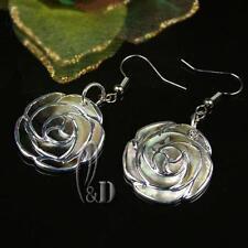 AU SELLER Lovely Handmade Mother Of Pearl Flower Patten Silver Earrings 0503