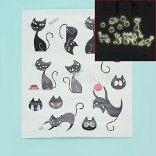 Fluorescente Gato Negro Luminosa Pegatina Pared Decoración Habitación Niños