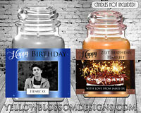 Personalised Sticker Candle Label Happy Birthday Gift 21st 30th 40th 50th Photo