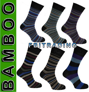 3  Pairs Mens Bamboo Super Gentle Soft Luxury Anti Bacterial Socks Striped 6-11