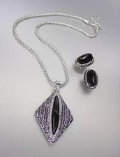 VINTAGE Antique Silver Chains CZ Crystals Black Onyx Pendant Mesh Necklace Set